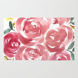 Red + Green Floral Rug
