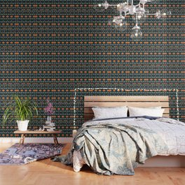 Ethnic deer pattern with Christmas trees Wallpaper