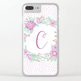 Monogram C - cute girls purple florals flower wreath, lilac florals, baby girl, baby blanket Clear iPhone Case