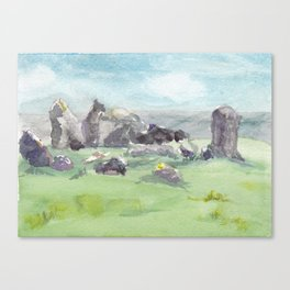 Loughcrew cairns stone circle watercolor painting of Ireland Canvas Print