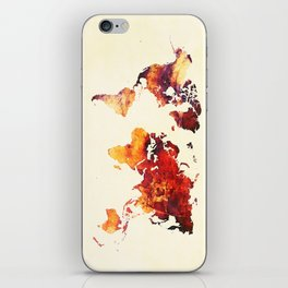 world map 89 art red iPhone Skin