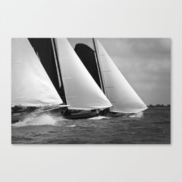 Skutsjes sailing vessels in a regatta Canvas Print