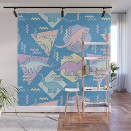 Nineties Dinosaurs Pattern  - Pastel version Wall Mural