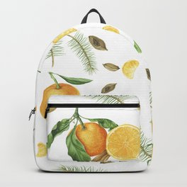 Tangerines, spices and branches of tree Backpack