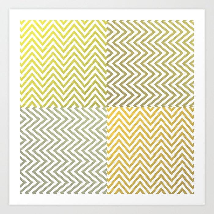 Geometric Lines Pattern Yellowish Art Print