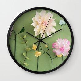 Crepe paper flowers Wall Clock