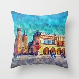 Cracow Main Square Throw Pillow