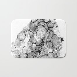 Watercolor abstract bubble splashing paint black gray ink isolated on white background Bath Mat