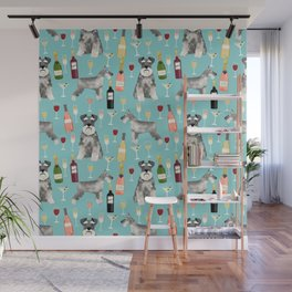 Schnauzer wine champagne cocktails rose dog breed pattern Wall Mural