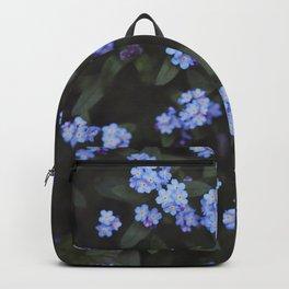 Blue Dark Floral Garden: Forget-me-nots Backpack