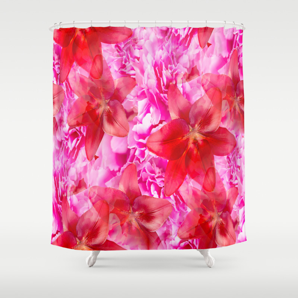Peony And Lily Flower Bouquet In Vibrant Pink And … Shower Curtain by Pivivikstrm CTN8503400
