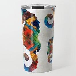 Colorful Seahorse Collage Art by Sharon Cummings Travel Mug