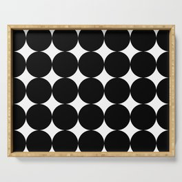 Black circles and white stars Serving Tray