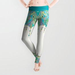 Art Deco Double Drop in Jade and Aquamarine on Cream Leggings