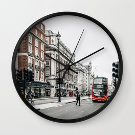 Red bus in Piccadilly street in London Wall Clock