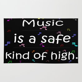 Music is a safe Famous Guitars Inspirational Motivational Quotes Rug