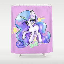 Pastel Rainbow Unicorn with Glitter Mascara Overload Shower Curtain