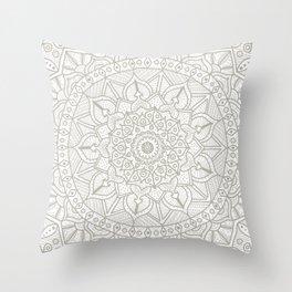 Gray Circle of Life Mandala on White Throw Pillow