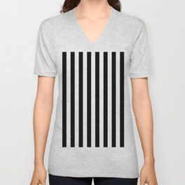 Parisian Black & White Stripes (vertical) Unisex V-Neck