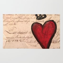 French Script Heart Rug