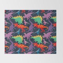 Dinosaur Domination - Dark Throw Blanket