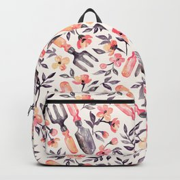 Spring Gardening - peach blossoms on cream Backpack