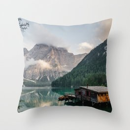 Mountain Lake Cabin Retreat Throw Pillow