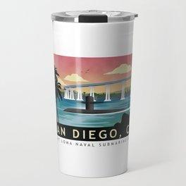 San Diego, CA - Retro Submarine Travel Poster Travel Mug
