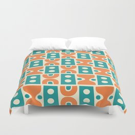 Funky Mid Century Modern Pattern 694 Orange and Turquoise Duvet Cover