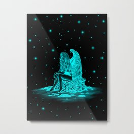 Angel lost in thought in the night Metal Print