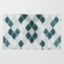 Moroccan Scalloped Flower Teal Rug