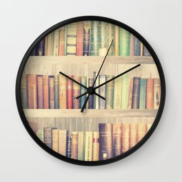 Dream with Books - Love of Reading Bookshelf Collage Wall Clock