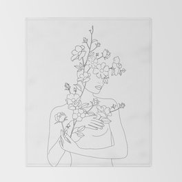 Minimal Line Art Woman with Wild Roses Throw Blanket