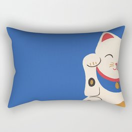 Blue Lucky Cat Rectangular Pillow