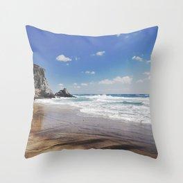 Barronal beach. Waves retro Throw Pillow