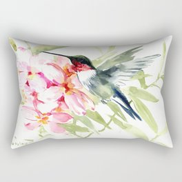 Hummingbird and Plumerias Rectangular Pillow