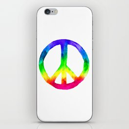 Rainbow Watercolor Peace Sign iPhone Skin