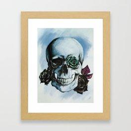 Skulls and Roses BLUE Framed Art Print