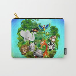 Wild Animals Cartoon on Jungle Carry-All Pouch