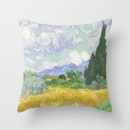 A Wheatfield with Cypresses by Vincent van Gogh Throw Pillow