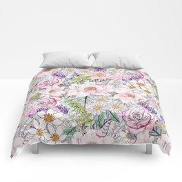 Watercolor garden peonies floral hand paint Comforters