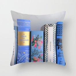 Shelfie in Blue Throw Pillow