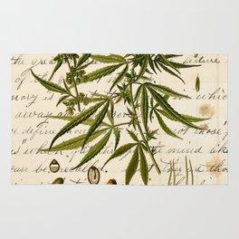 Marijuana Cannabis Botanical on Antique Journal Page Rug