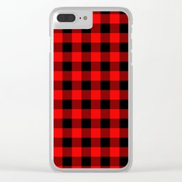 Jumbo Berry Red and Black Rustic Cowboy Cabin Buffalo Check Clear iPhone Case