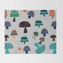 Cute Mushroom gray Throw Blanket