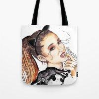 ariana grande Tote Bags featuring ARIANA G. by CARLOS CASANOVA