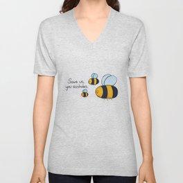 Bees!!! Unisex V-Neck