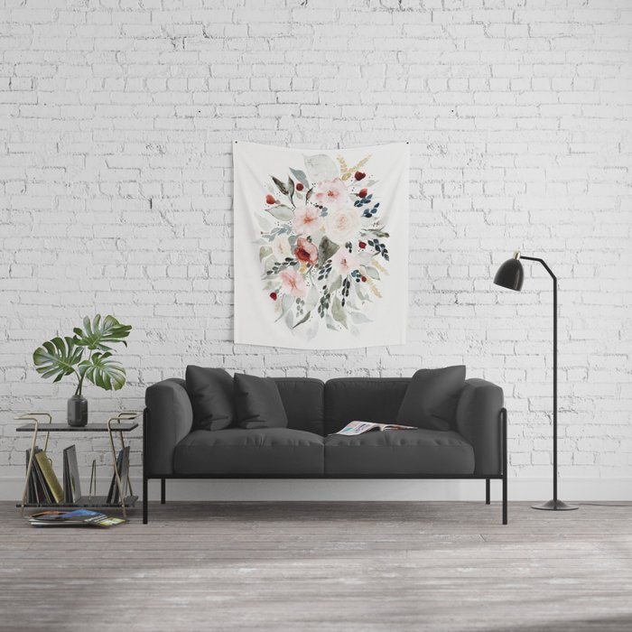 Loose Watercolor Bouquet Wall Tapestry
