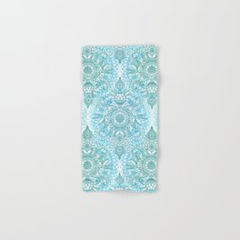 Turquoise Blue, Teal & White Protea Doodle Pattern Hand & Bath Towel