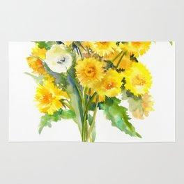 Dandelion Flowers, Herbal, herbs Rug
